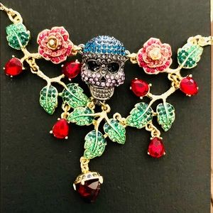 Betsey Pirate Skull Red Crystal Hearts Necklace